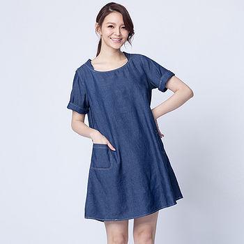 女裝丹寧A襬連身裙-深藍(M~L)