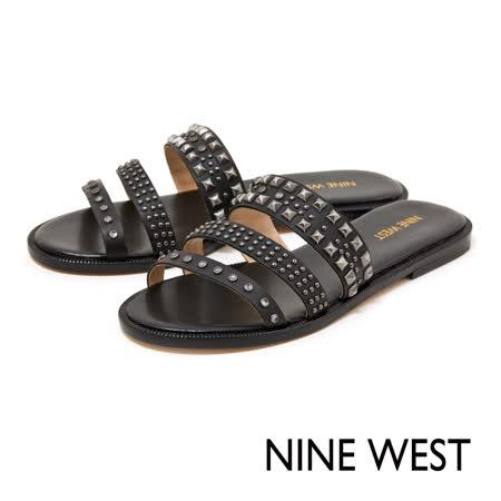 NINE WEST--鉚釘平底拖鞋--率性黑