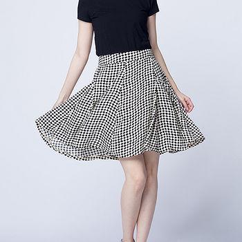 女裝口袋休閒圓裙-黑白幾何(M~L)