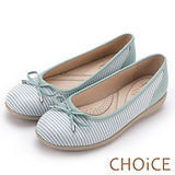 CHOiCE 甜美舒適休閒 雙材質蝴蝶結條紋平底鞋-綠色