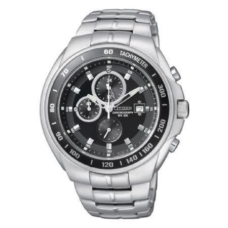 CITIZEN OXY 皇者之聲三眼計時時尚腕錶(黑/42mm) AN4010-57E