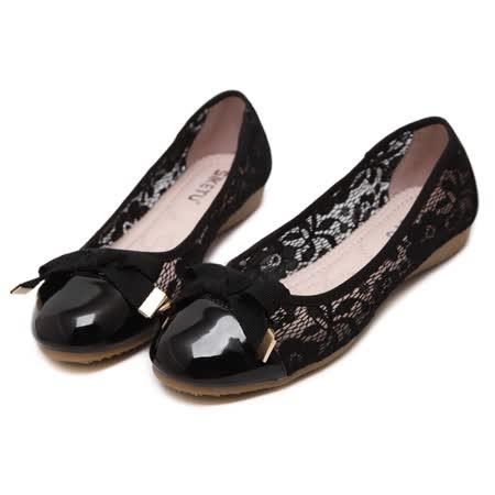 【Maya easy】都會性感花卉網紗拼接低跟平底鞋 (黑色)