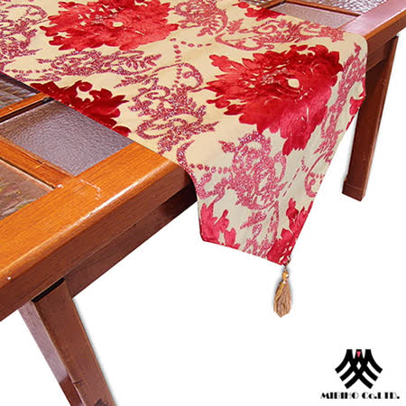 《M.B.H─凡賽藝術》植絨緹花桌旗(紅)(33x178cm)