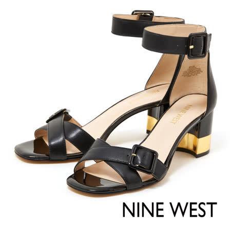 NINE WEST--金屬粗跟涼鞋-摩登黑