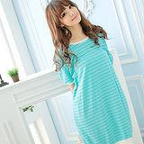 Wonderland 簡約橫紋棉質居家洋裝(藍)