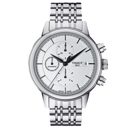 TISSOT Carson 尖峰時刻經典三眼計時機械腕錶-銀/42mm/T0854271101100