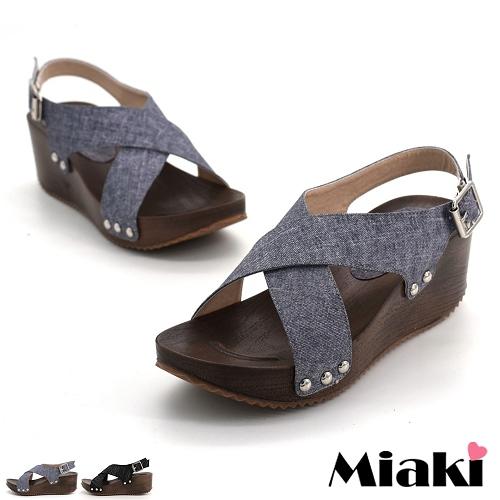 ~Miaki~涼鞋直擊南洋坡跟厚底涼拖 ^(灰色 黑色^)