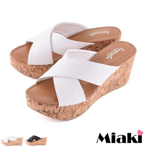 ~Miaki~拖鞋沙灘必敗坡跟厚底涼鞋 ^(白色 黑色^)
