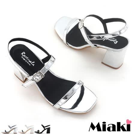 【Miaki】高跟鞋首爾嚴選粗跟露趾涼鞋 (白色 / 銀色 / 黑色)