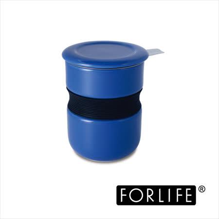 【美國FORLIFE】不燙手曲線杯(附蓋/濾網)355ml - 藍