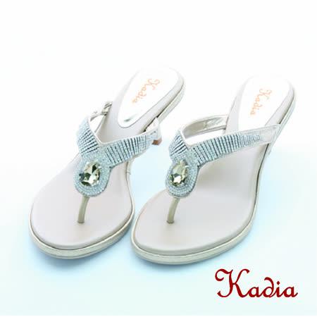 Kadia.氣質水鑽人字跟高拖鞋(金色)