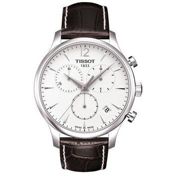TISSOT T-TRADITION 尊爵超薄三眼計時男錶(白) T0636171603700