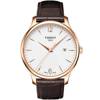 TISSOT T-TRADITION 尊爵超薄時尚男錶(白面/金框) T0636103603700