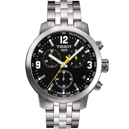 TISSOT PRC200 霸氣時尚三眼計時腕錶(黑/42mm) T0554171105700