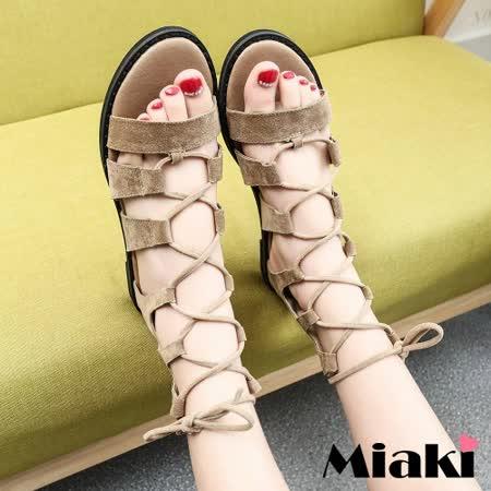 【Miaki】涼鞋韓國嚴選露趾羅馬涼鞋 (杏色 / 黑色)
