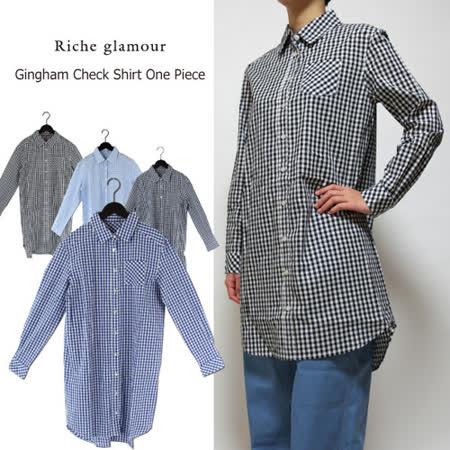 日本CIELO 現貨-休閒小格紋長版襯衫(共四色)