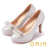 ORIN 晚宴婚嫁首選 華麗閃耀蝴蝶結水鑽高跟鞋-銀色
