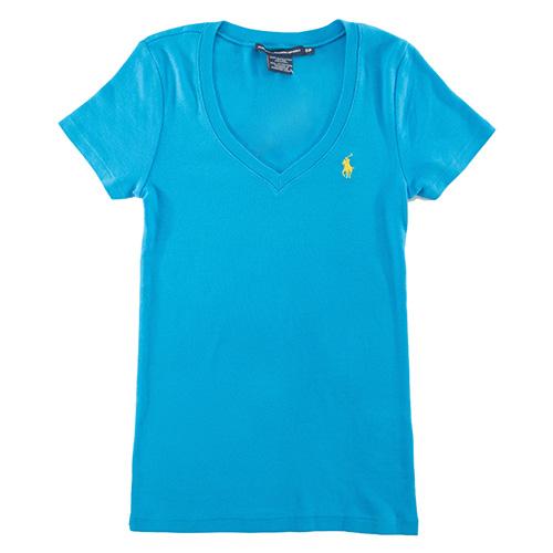 Ralph Lauren經典素面小馬V領女衫(天空藍)