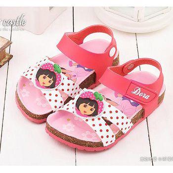 童鞋城堡 朵拉 中童 可愛軟木風格涼鞋DR3071 桃