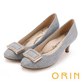 ORIN 時尚魅力 方型飾釦水鑽優雅中跟鞋-灰色