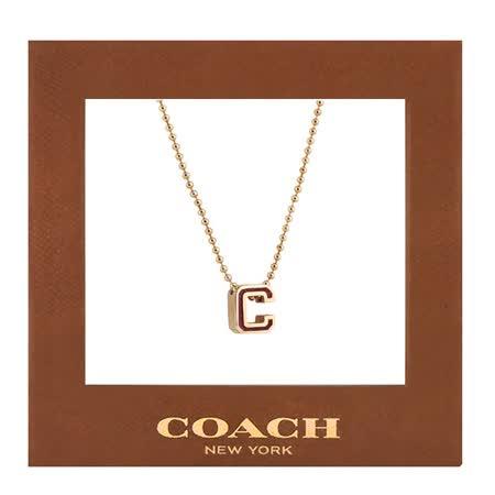 COACH C LOGO飾牌項鍊-玫瑰金色
