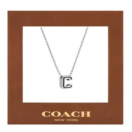 COACH C LOGO飾牌項鍊-銀色