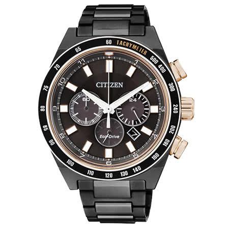 CITIZEN Eco-Drive 三環計時男用時尚腕錶-黑/42mm/CA4207-53H