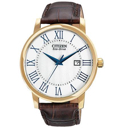 CITIZEN 羅馬世代光動能日期男用腕錶-金x咖啡/40mm/BM6752-02A