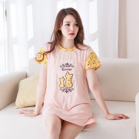 Wonderland ST6374花花小貓棉質居家洋裝(粉橘)