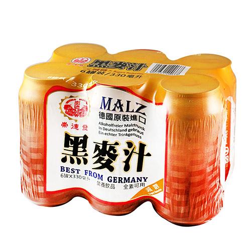 崇德發減糖黑麥汁(罐)330ml*6入/組