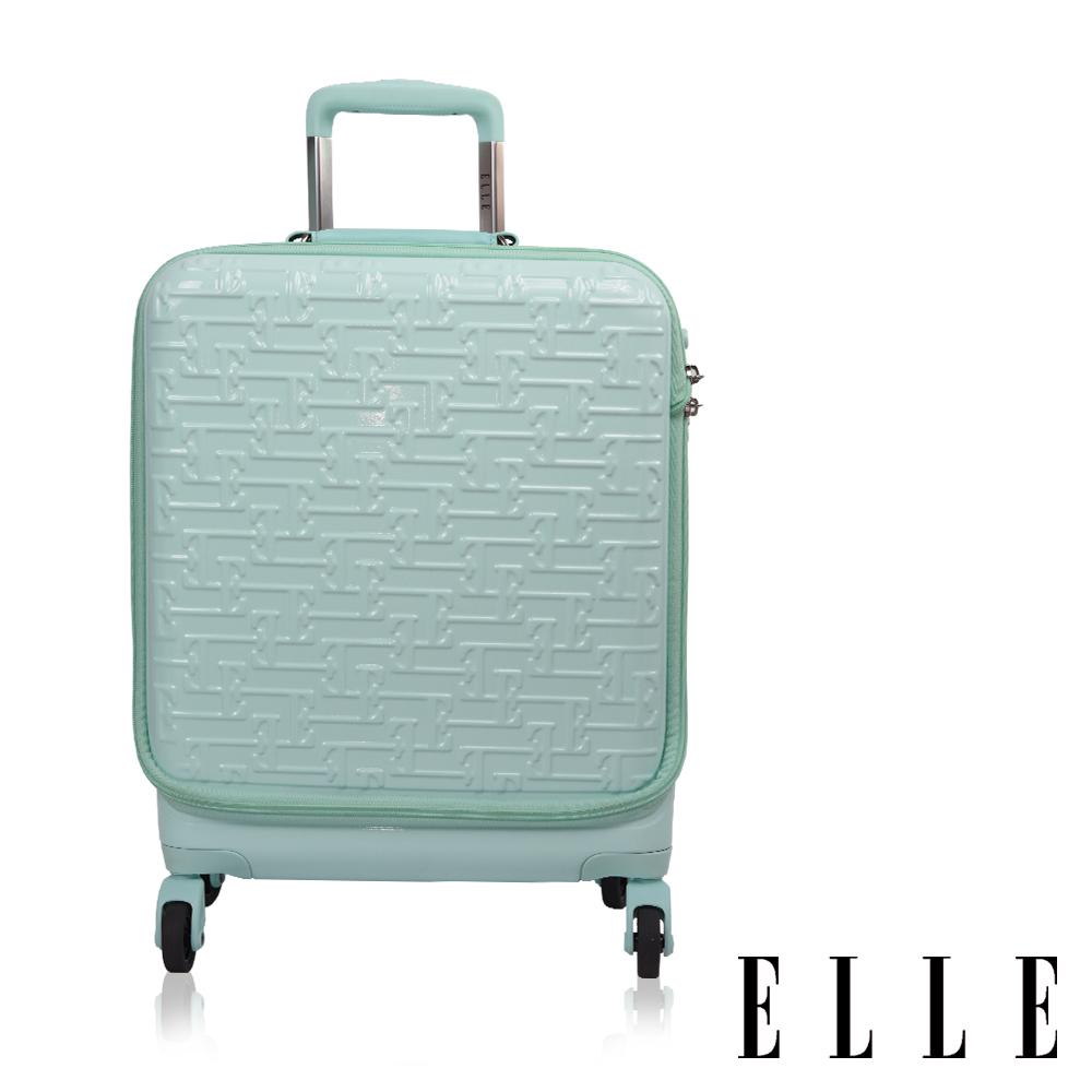 ELLE~18吋廉航 款~馬卡龍系列專利前開式旅行商務兩用行李箱登機箱^(蒂芬妮綠^) E