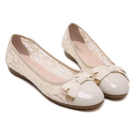 【Maya easy】都會性感花卉網紗拼接低跟平底鞋 (杏色)