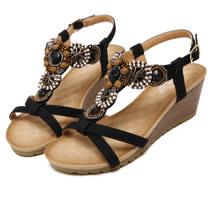 【Maya easy】神秘波希米亞風格楔型涼鞋 (黑色)