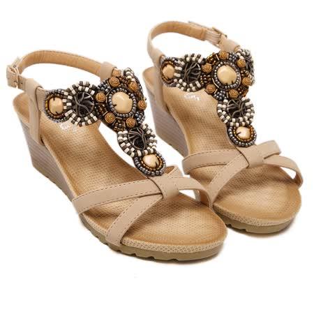 【Maya easy】神秘波希米亞風格楔型涼鞋(杏色)