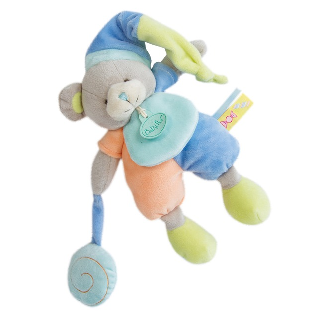 法國娃娃DOUDOU糖果^(橘藍熊 ^)沙沙聲音布偶^(22cm^)
