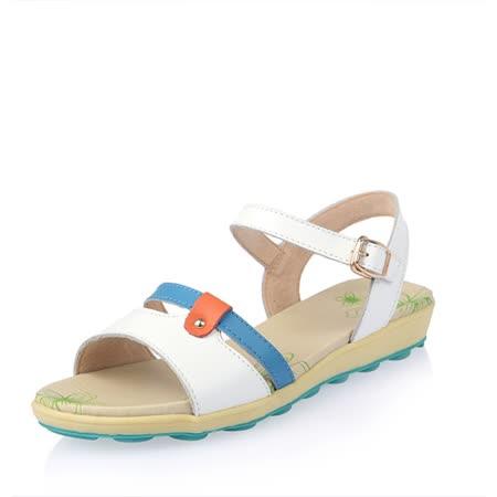 【Maya easy】雙繫帶牛皮輕量平底涼鞋 (白色)
