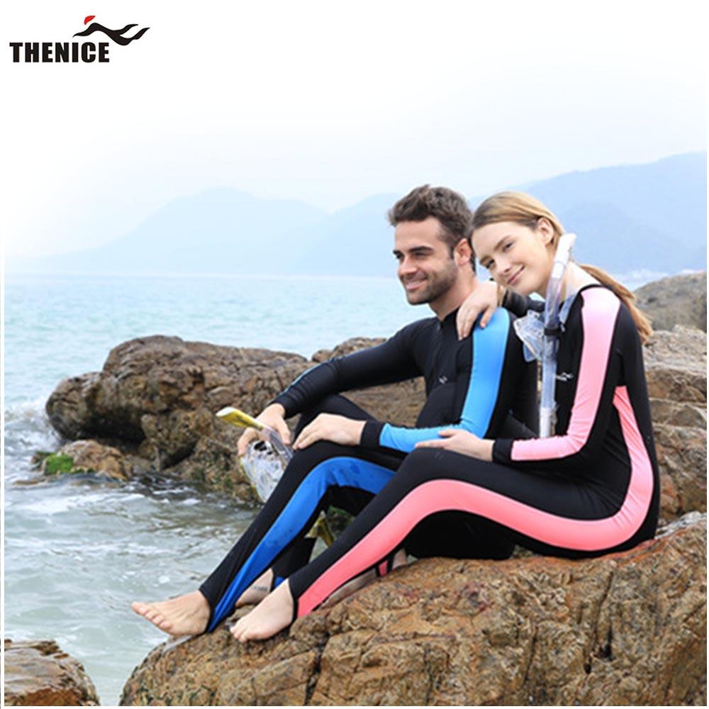 【百 威THENICE】情侶款男女 浮潛衣 衝浪衣 防紫外線 長袖連體 共三色