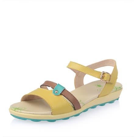 【Maya easy】雙繫帶牛皮輕量平底涼鞋 (黃色)