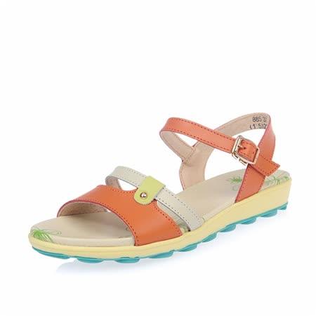 【Maya easy】雙繫帶牛皮輕量平底涼鞋 (橘色)