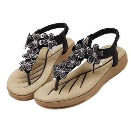 【Maya easy】耀眼動人花卉水鑽氣墊涼鞋 (黑色)
