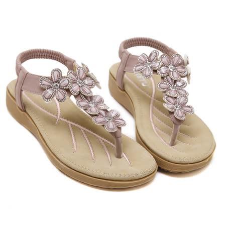 【Maya easy】耀眼動人花卉水鑽氣墊涼鞋 (紫色)