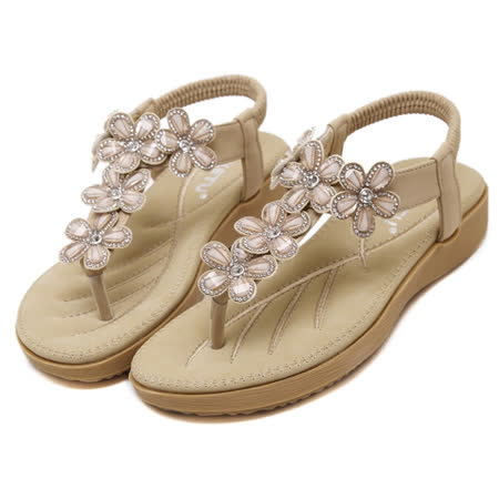 【Maya easy】耀眼動人花卉水鑽氣墊涼鞋 (杏色)