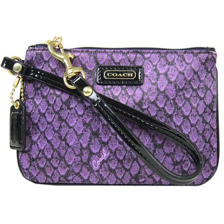 COACH 蛇紋緞布手拿包禮盒(紫)