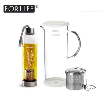 【美國FORLIFE】沁涼玻璃果茶壺 1420 ml +OTA-玻璃濾網時尚印花隨手瓶(不鏽鋼濾網)