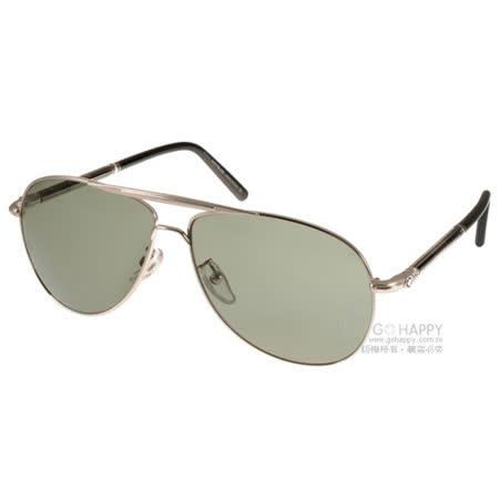 MONT BLANC太陽眼鏡 頂級精品男士飛官偏光款(銀-黑) #MB512T 16R