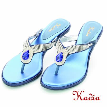 Kadia.氣質水鑽人字跟高拖鞋(藍色)