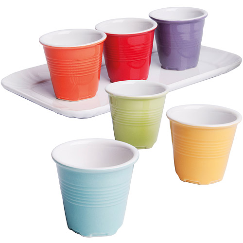 ~EXCELSA~托盤 陶製咖啡杯6件^(60ml^)