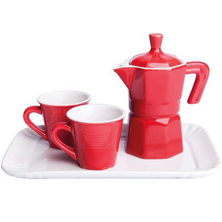 《EXCELSA》托盤牛奶罐+咖啡杯組(紅)