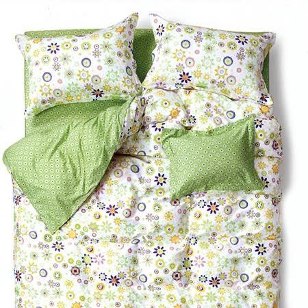 【情定巴黎】綠茵戲語100%精梳純棉單人三件式床包被套組