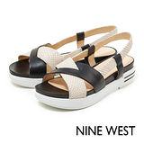 NINE WEST--後帶式厚底涼鞋--黑白配色